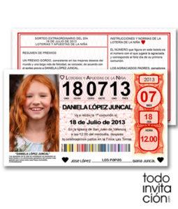 invitacion comunion original billete loteria