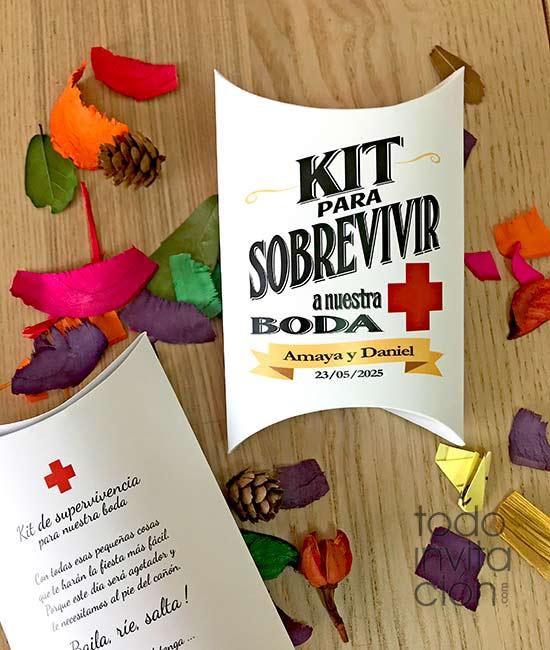 cajas para kit de supervivencia de boda