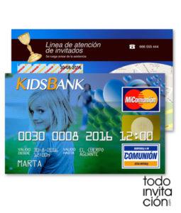 invitacion comunion original tarjeta credito