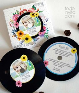 invitacion comunion original disco vinilo