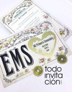 invitacion comunion original rasca