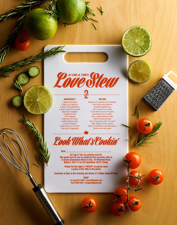 invitación de boda tabla de cortar cocina