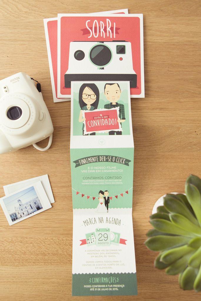invitacion de boda divertida camra de fotos