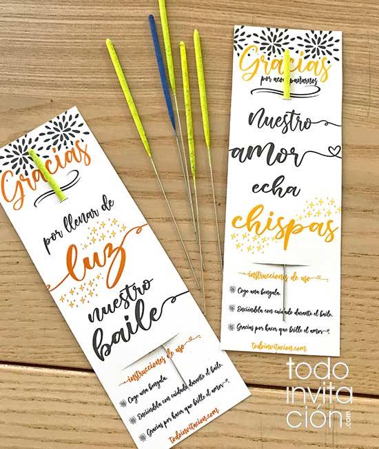 tarjetas gratis para bengalas de boda imprimible