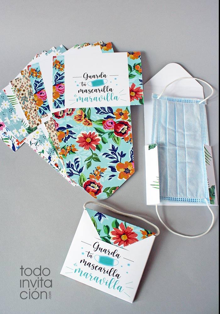 porta mascarillas cartón plegable para el bolso