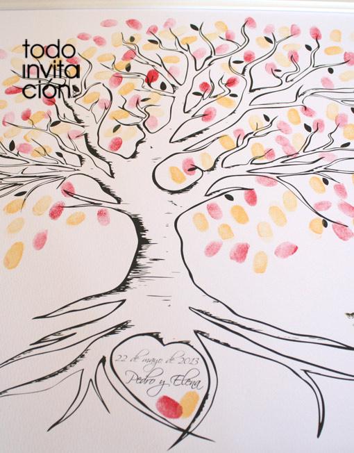 cuadro de huellas de boda arbol 5