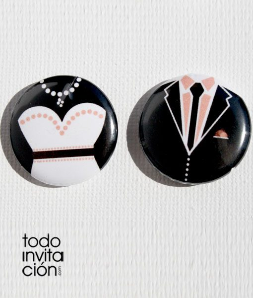 chapas divertidas para boda novio novia