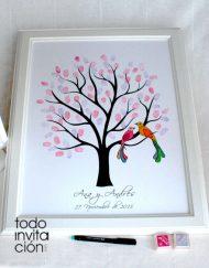 cuadro árbol de huellas boda