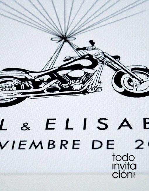 cuadro de huellas boda moto