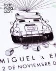 cuadro de huellas boda coche