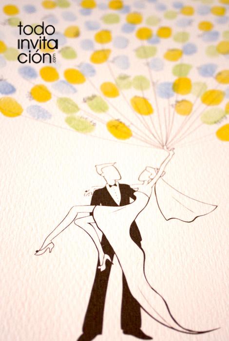 cuadrode huellas para bodas novios globos