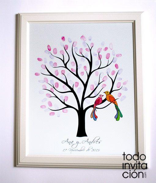 cuadro arbol de huellas boda
