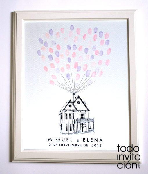 cuadro de huellas boda casa globos