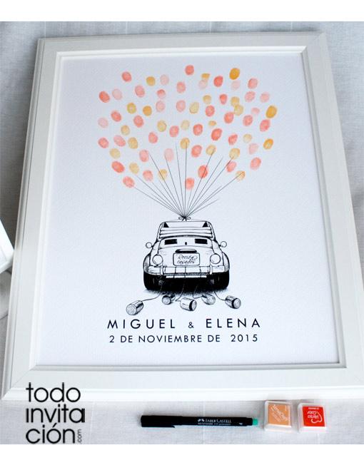 cuadro de huellas bodas coche