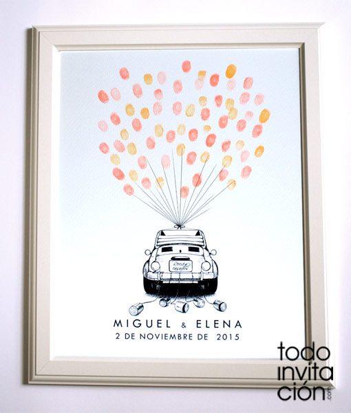 cuadro de huellas boda coche globos