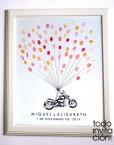 cuadro de huellas boda moto globos