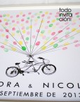 cuadro de huellas bodas bici grande
