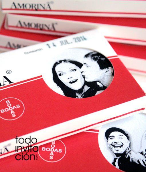 invitacion de boda caja medicamento amorina