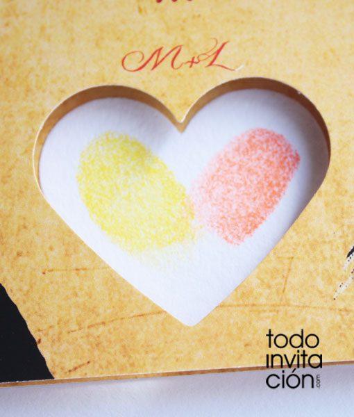 invitacion boda original huellas dactilares 1