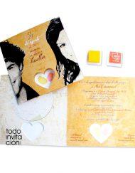 invitacion de boda huellas