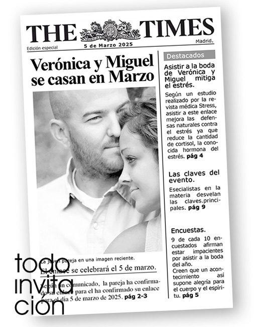 invitacion boda portada de periodico