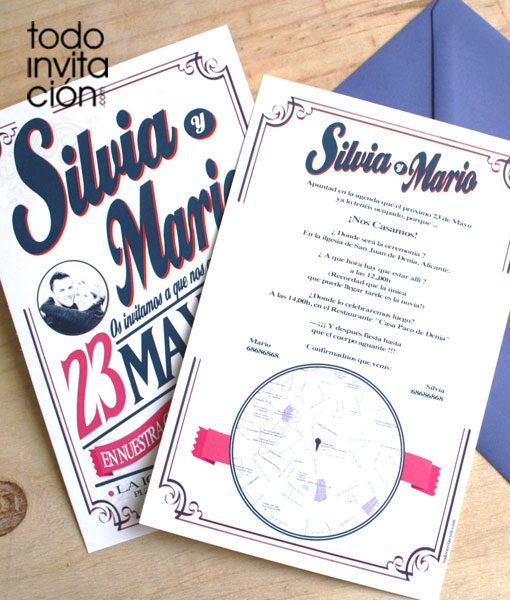 invitacion de boda retro letters