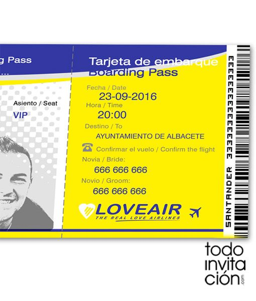 invitacion-billete avion tarjeta embarque