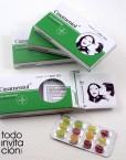 invitacion de boda original caja medicamento