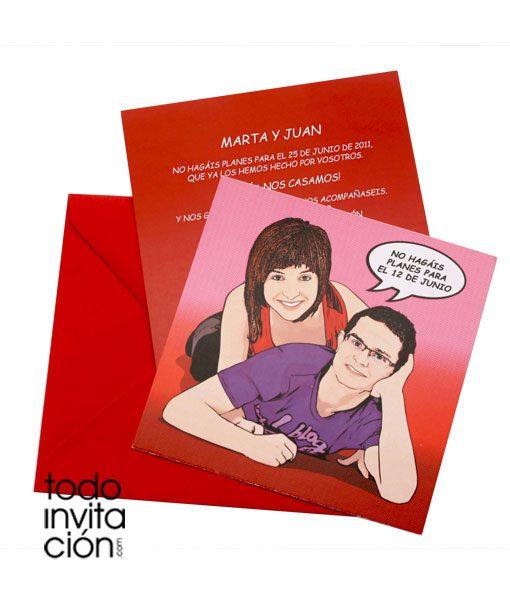 invitacion de boda comic