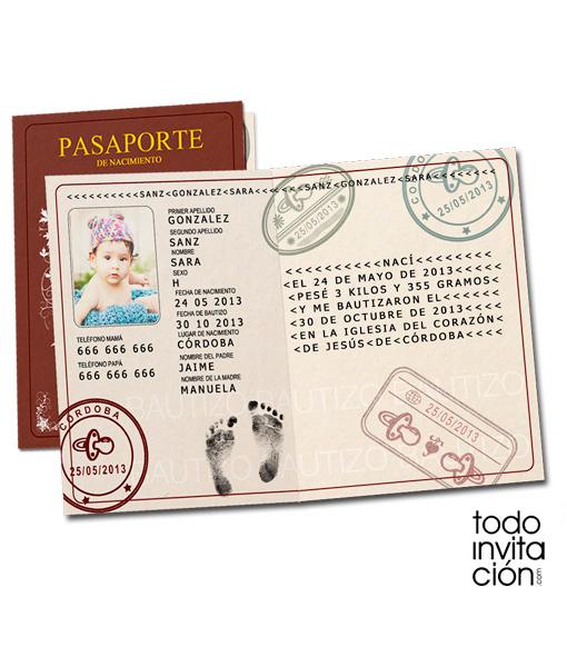 Invitaci n pasaporte baby eventos originales - Organizar bautizo original ...