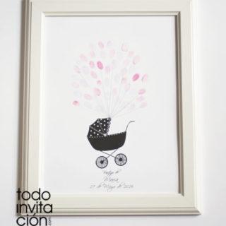 cuadro huellas bautizo carrito bebe