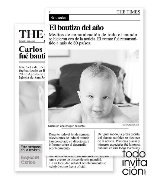 Invitación Newspaper Baby Invitaciones Y Detalles Para Invitados Originales