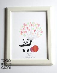Cuadro de huellas bautizo oso panda