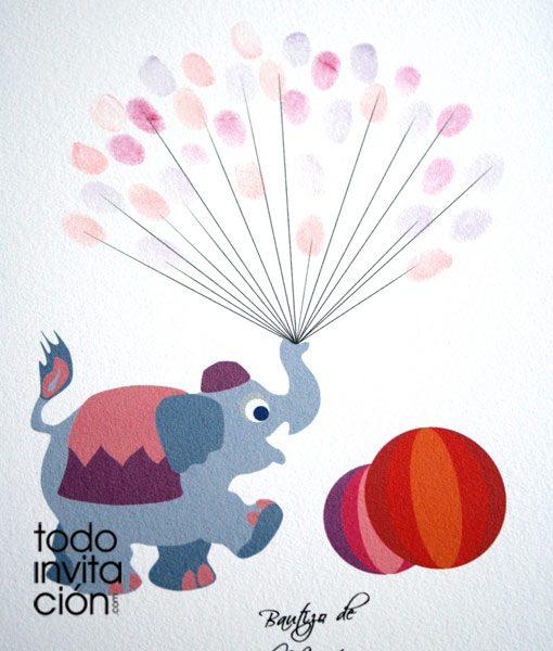 Cuadro de huellas bautizo elefante