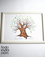 árbol cuadro de huellas boda corazon