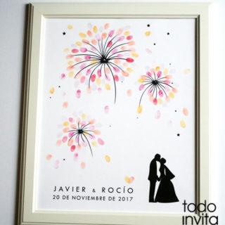 cuadro de huellas para bodas fuegos artificiales