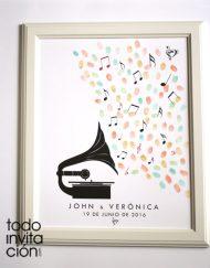 cuadro de huellas boda gramofono