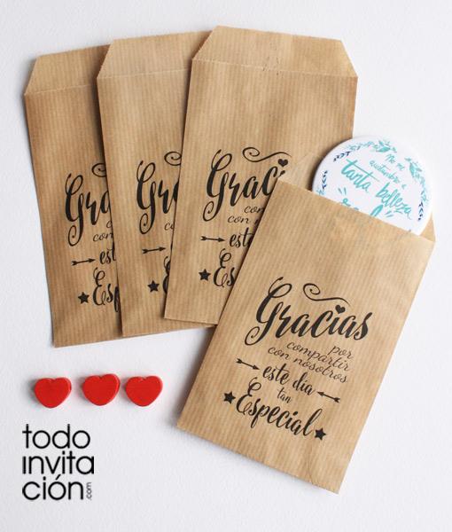 Bolsas Kraft Pequenas Gracias 5 Bodas Pack 20 Und - Regalo-de-bodas-originales