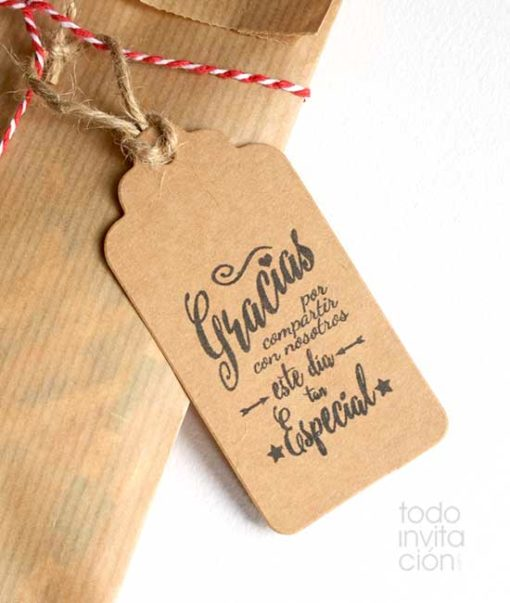 etiquetas kraft gracias para detalles regalos de boda