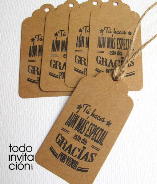Etiquetas kraft gracias 3 pack 20 und invitaciones - Detalles para los invitados de boda ...
