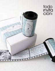 invitacion de boda carrete de fotos original