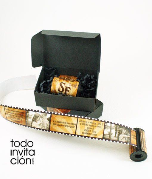 invitacion de boda carrete de fotos retro vintage