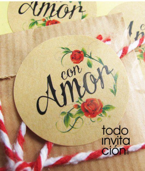 pegatinas kraft gracias con amor para detalles de boda, bautizo o comunión