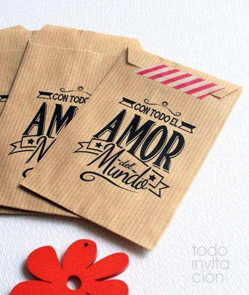 bolsa kraft detalles regalos con amor