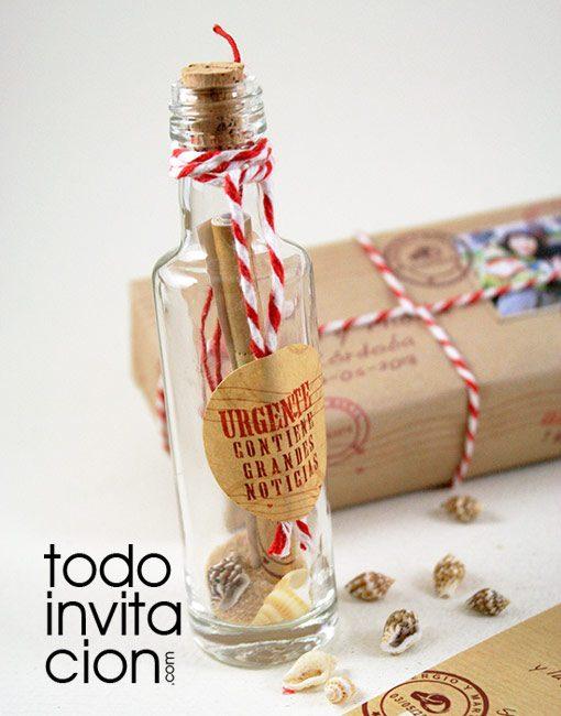 invitacion original boda mensaje botella