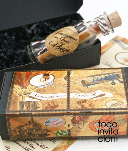 invitacion de boda original mensaje en botella viaje