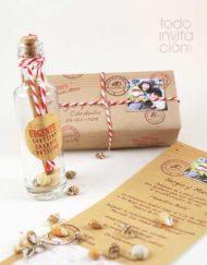invitacion mensaje botella boda
