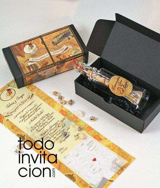 invitacion boda original mensaje botella