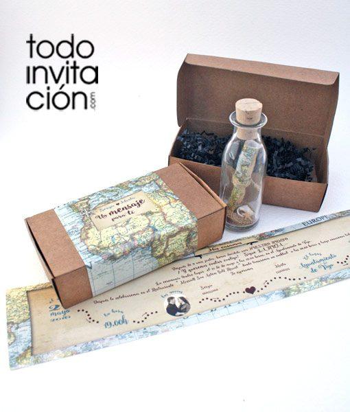 invitacion de boda original mensaje en botella MAPA