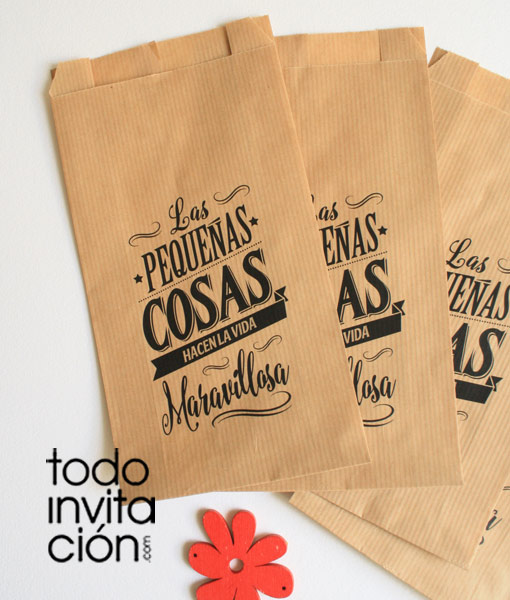 Bolsas Kraft Grandes Las Pequenas Cosas Pack 20 Und Invitaciones Y Detalles Originales Todoinvitacion
